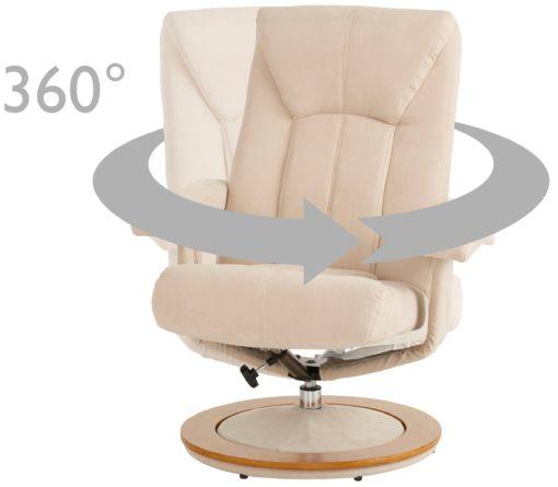 Wygodny obrotowy fotel z podnóżkiem