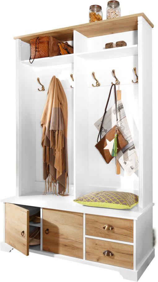 Kompaktowa garderoba biało-dębowa, ze schowkiem i szufladami