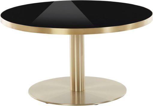 Nowoczesny stolik kawowy czarny blat i złota podstawa