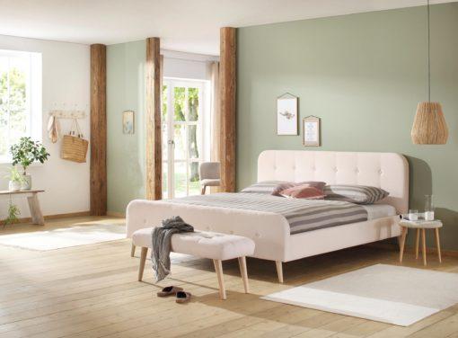 Tapicerowana ławka w skandynawskim stylu, kremowa