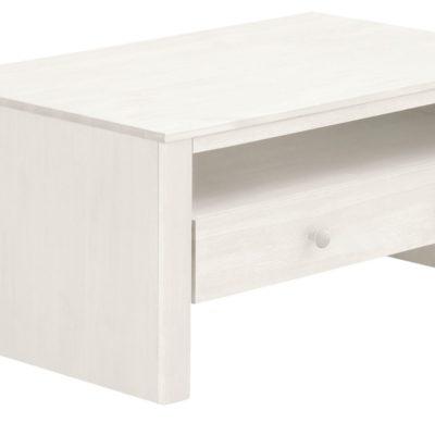 Sosnowa ława z szufladą, rustykalna, w kolorze białym