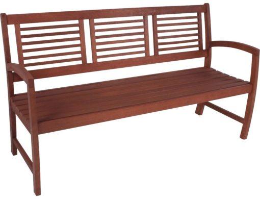 Drewniana ławka ogrodowa, klasyczna, brązowa, 4-osobowa