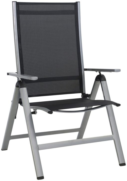 Tekstylny czarny leżak z aluminiową rama, regulacja oparcia