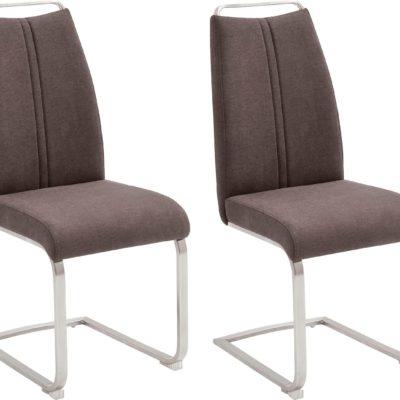 Brązowe krzesła na płozach MCA, nowoczesne