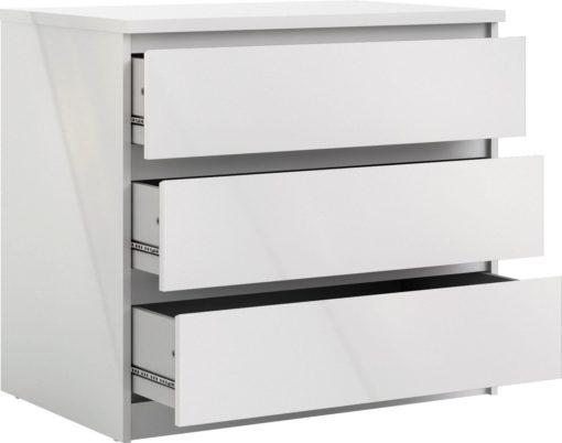 Biała komoda Naia 3 szuflady w połysku