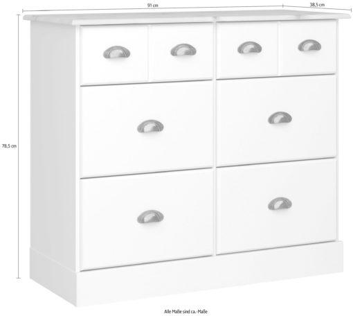 Rustykalna, biała komoda z szufladami, romantyczna