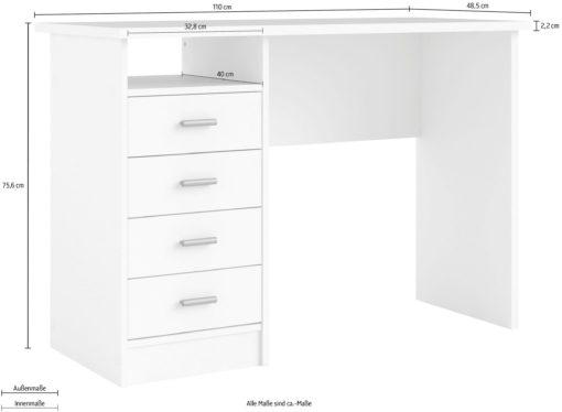 Biurko Plus białe z czterema szufladami, klasyczne