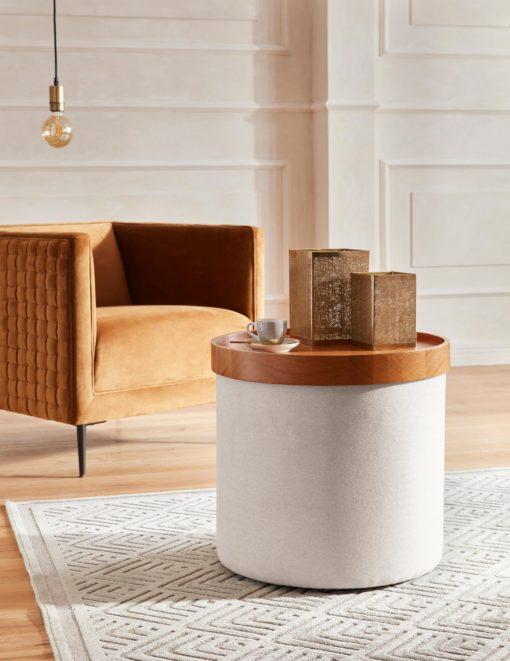 Okrągły stolik ze zdejmowanym blatem lub puff