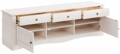 Przepiękna, zdobiona szafka pod telewizor z sosny, biała