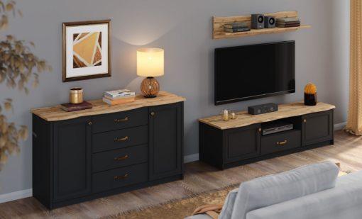 Czarna szafka pod telewizor, blat dębowy, 157 cm