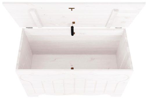 Sosnowa biała skrzynia, ławka ze schowkiem, rustykalna