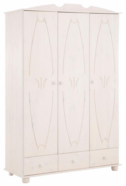 Trzydrzwiowa, zdobiona szafa z drewna sosnowego, biała