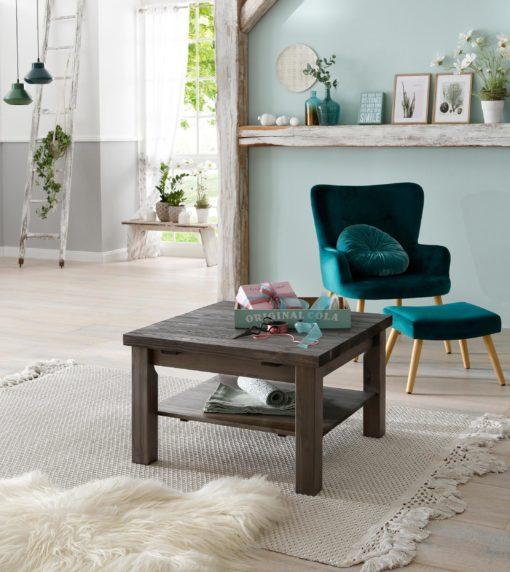 Stolik szary drewniany, z szarym szczotkowanym blatem