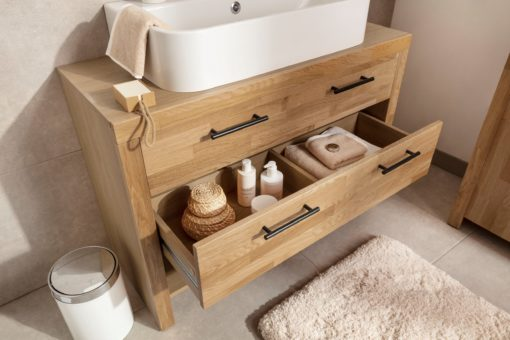 Szafka pod umywalkę, front z drewna dębowego, 2 szuflady