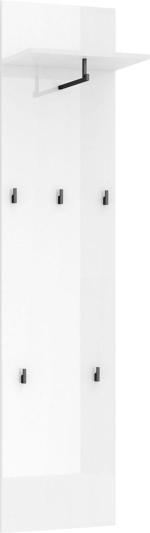 Biały wieszak w połysku z kontrastującymi haczykami i półką