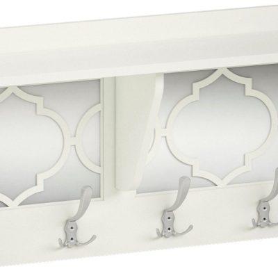 Biały wieszak z lustrem z przodu, orientalny styl