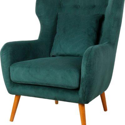 Wygodny, zielony fotel z poduszką, jak uszak