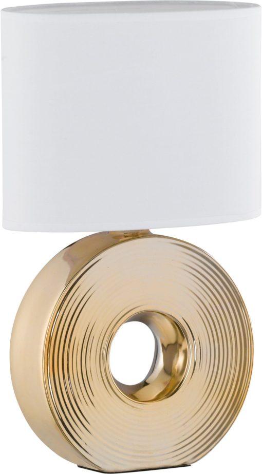 Lampa stołowa, złota podstawa i biały abażur
