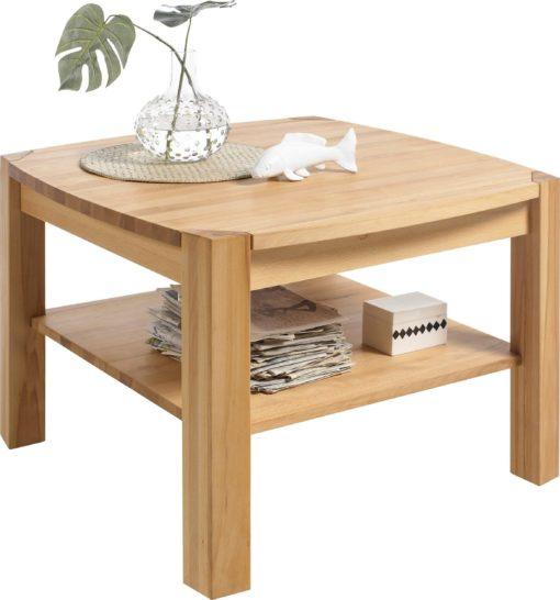 Elegancki stolik z drewna bukowego z półką