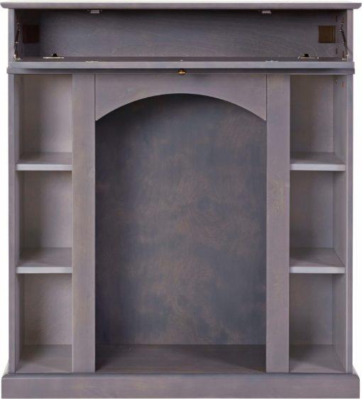 Konsola kominkowa z półkami i szufladą, szara bejcowana