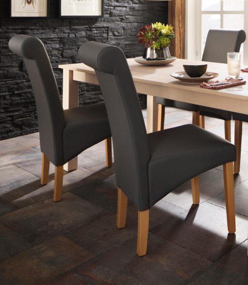 Krzesła szare, ekoskóra, lite drewno bukowe 2 sztuki