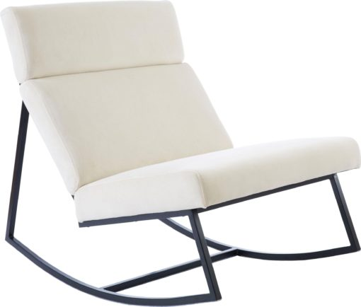 Designerski i szalenie wygodny fotel bujany, kremowy