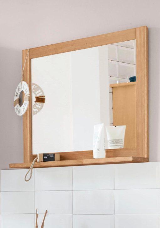 Lustro łazienkowe z sosnową ramą
