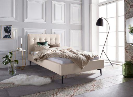Szlachetne, tapicerowane łóżko, kremowe 100x200 cm