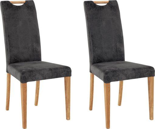 Wytrzymałe krzesła z dębowymi nogami, antracytowe - 2 sztuki