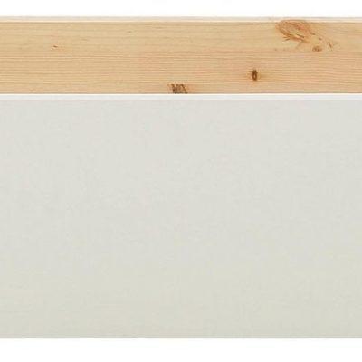 Sosnowa szuflada pod łóżko, biały front, z kółkami