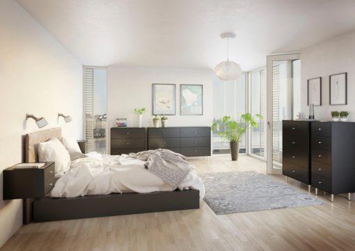 Czarna szafka nocna z dwiema szufladami, duński design