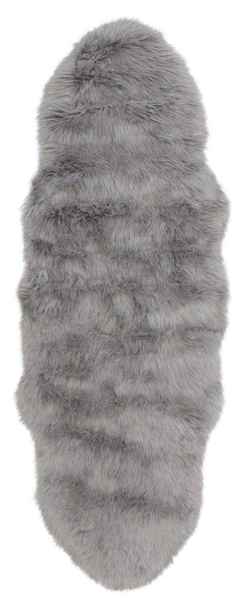 Szary puszysty dywan z długim włosiem 50x90 cm