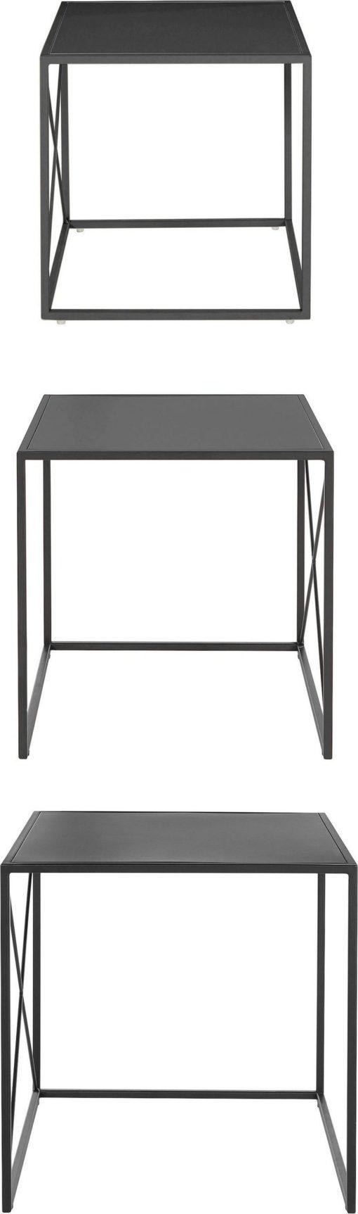 3-częściowy zestaw czarnych stolików z metalu, nowoczesny styl