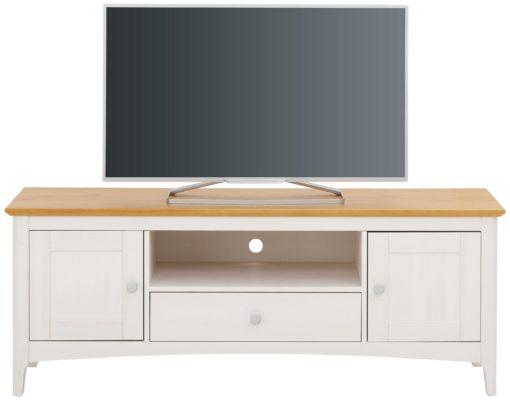 Szafka pod telewizor, biało-miodowa, 145 cm
