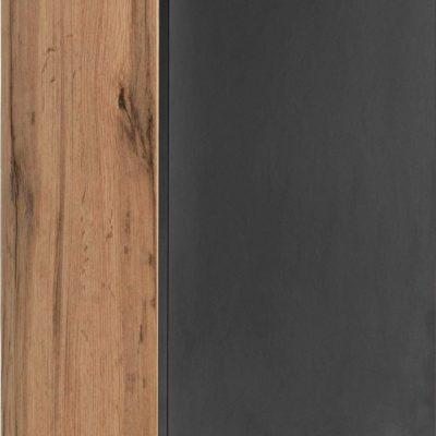 Regał na ścianę z drzwiami, dębowo-czarny