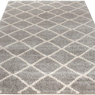 Szary dywan w kratę 60x110 cm, styl skandynawski