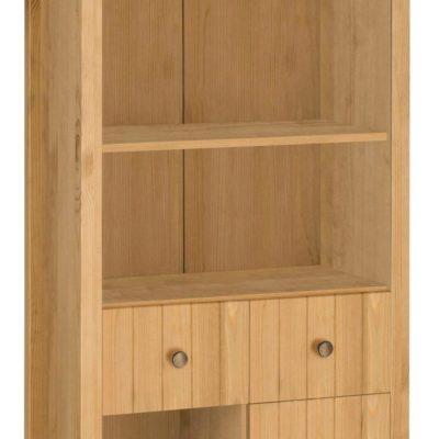 Sosnowa wysoka szafa z szufladami, drzwiami i półkami