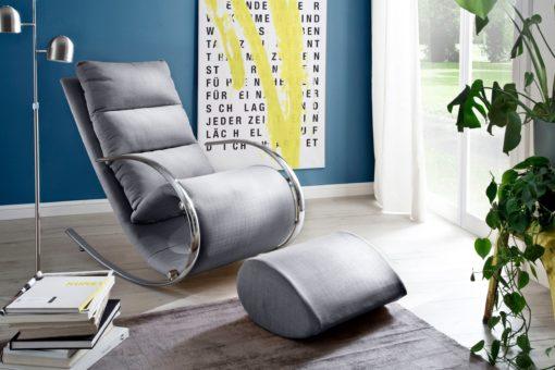 Fotel relaksacyjny z podnóżkiem, szary, bujany