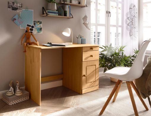 Sosnowe biurko z szufladami i schowkiem, klasyczne