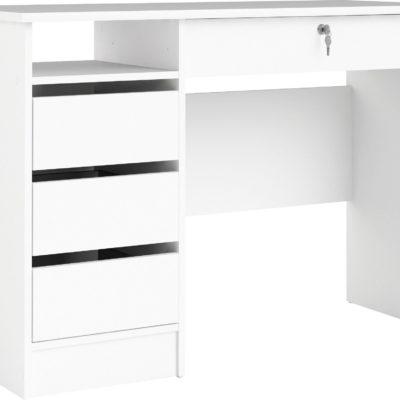 Białe biurko Plus z szufladami