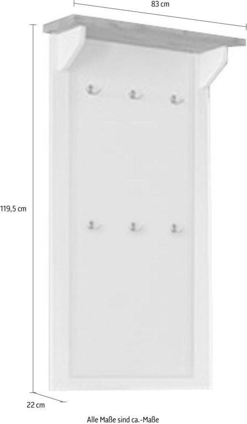 Biały wieszak na ścianę z półką w kolorze drewna dębowego