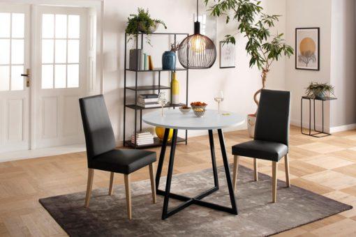 Proste krzesła czarne, sztuczna skóra - 2 sztuki