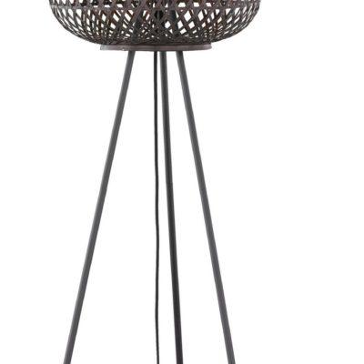 Stojąca lampa z bambusowym kloszem w stylu etnicznym