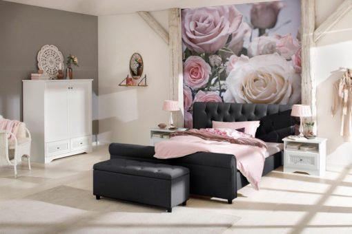 Eleganckie, tapicerowane łóżko 160x200 cm, czarne