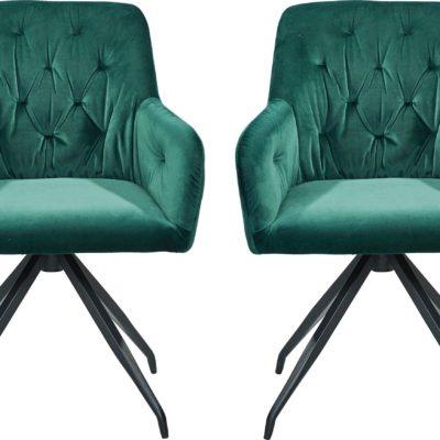 Wygodne krzesła, fotele z pikowaniem na plecach, zielone