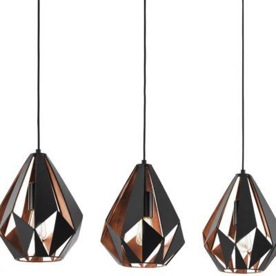 Modna lampa wisząca EGLO z diamentowymi czarnymi kloszami
