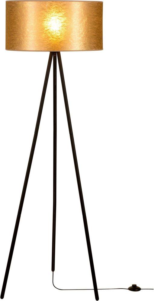 Modna lampa stojąca na trójnogu ze złotym abażurem