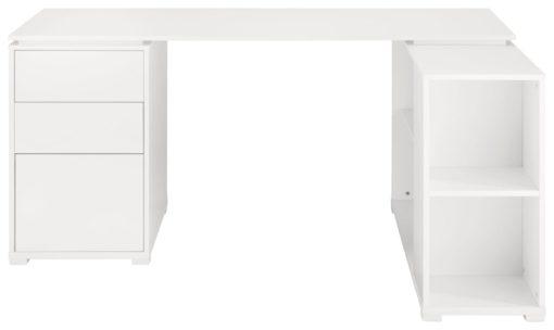 Białe biurko narożne z komodą i przedziałami na dokumenty