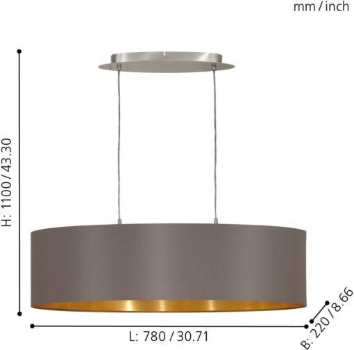 Elegancka lampa wisząca EGLO na dwie żarówki