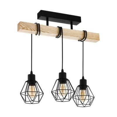 Eglo lampa sufitowa styl industrialny, retro, sosnowa belka